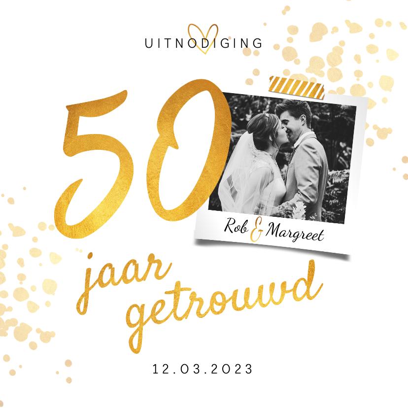 Jubileumkaarten - Jubileumkaart huwelijk 50 jaar goudlook stijlvol