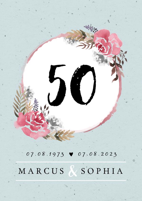Jubileumkaarten - Jubileumkaart huwelijk klassiek en stijlvol met bloemen