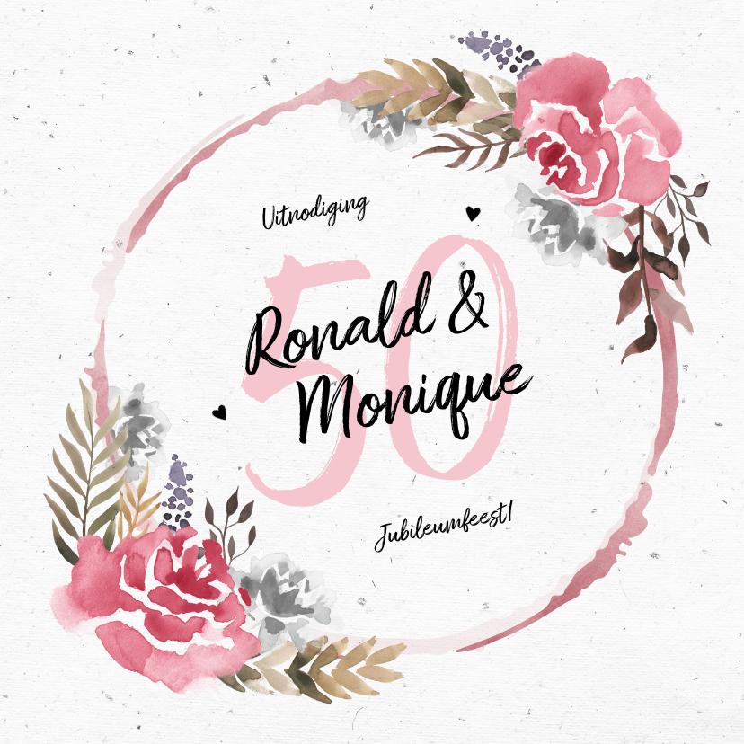 Jubileumkaarten - Jubileumkaart huwelijk met watercolor bloemen