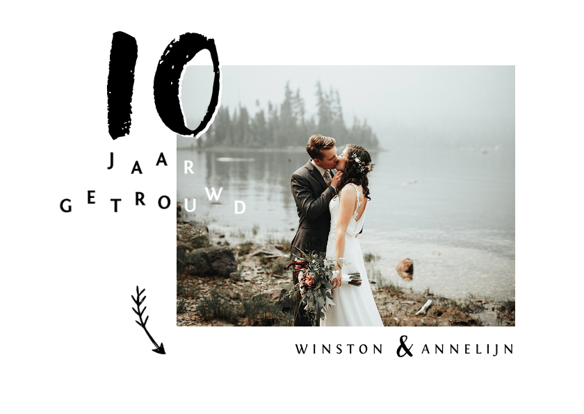 Jubileumkaarten - Jubileumkaart huwelijk stijlvol met eigen foto's