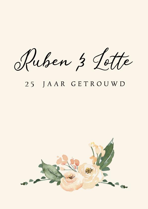 Jubileumkaarten - Jubileumkaart huwelijk zalmroze bloemen