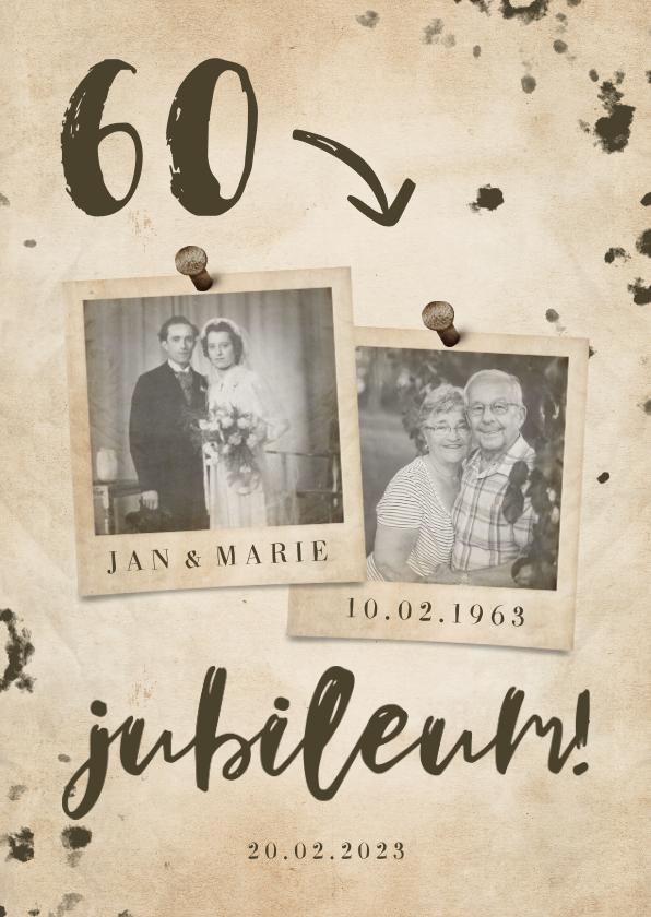 Jubileumkaarten - Jubileumkaart 'jubileum' vintage met getal en foto's