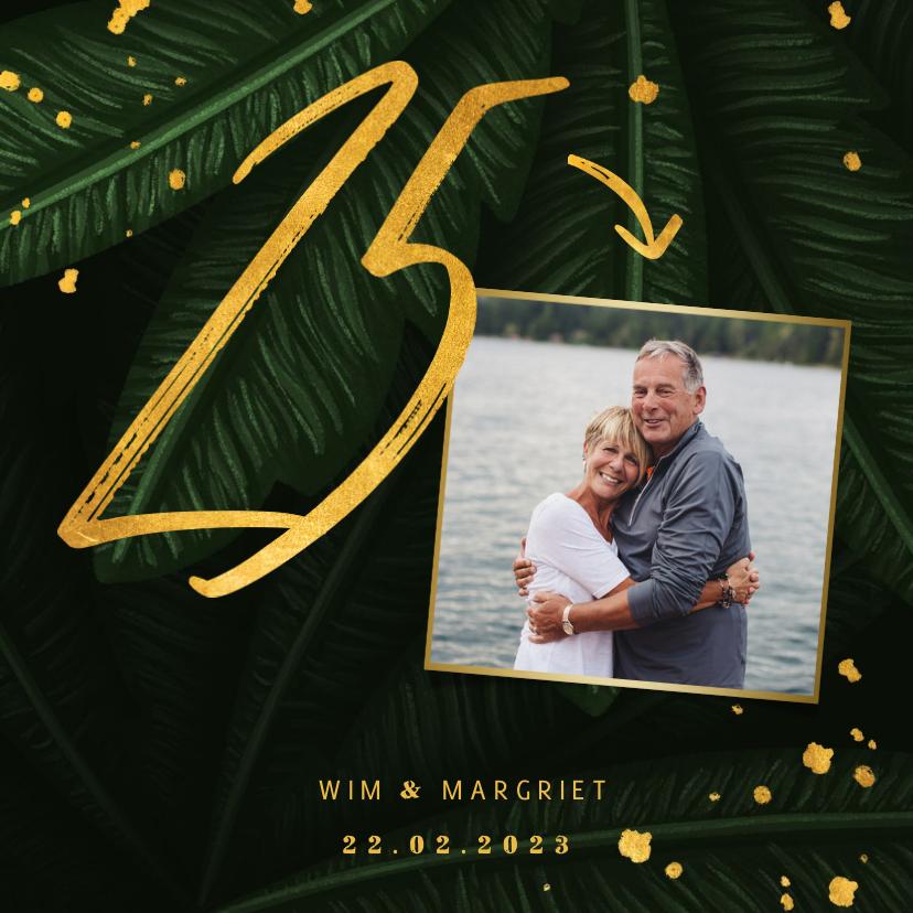 Jubileumkaarten - Jubileumkaart jungle bladeren met foto en gouden '25'
