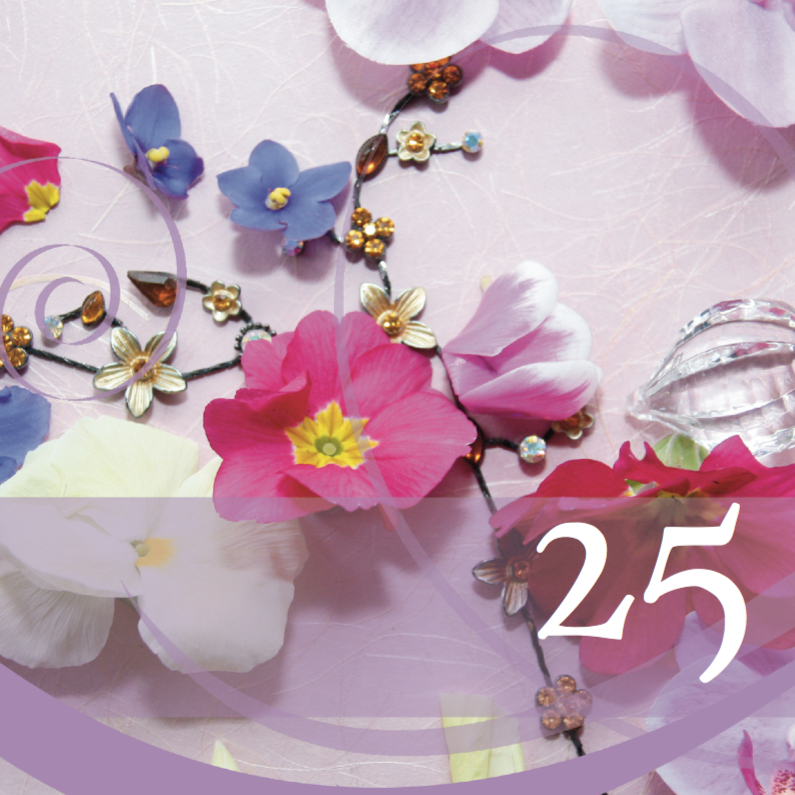 Jubileumkaarten - Jubileumkaart kristal en bloemen