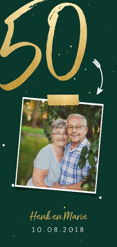Jubileumkaarten -  Jubileumkaart langwerpig met gouden 50 en foto
