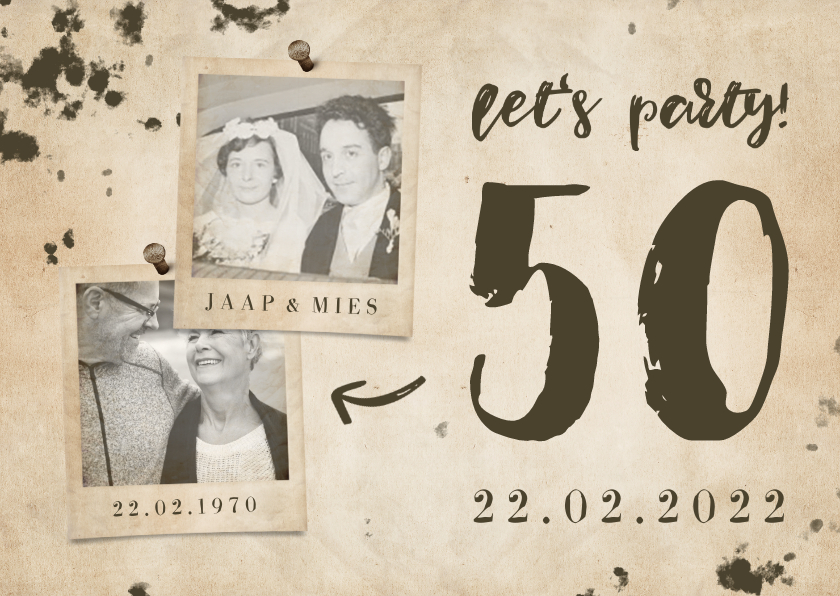 Jubileumkaarten - Jubileumkaart 'let's party' vintage met foto's en getal