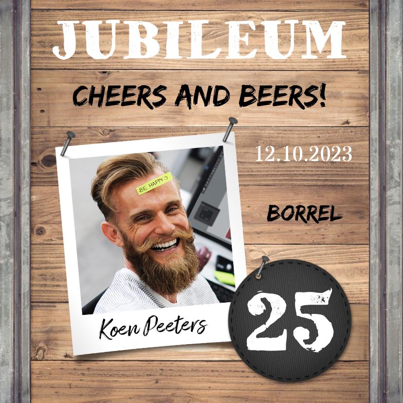 Jubileumkaarten - Jubileumkaart medewerker industrieel met foto en hout