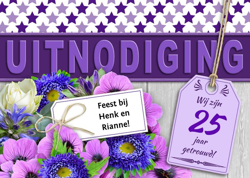 Jubileumkaarten - Jubileumkaart met bloemen en sterren voor een feest