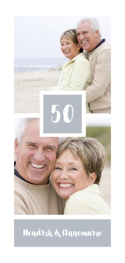 Jubileumkaarten - Jubileumkaart met foto's en vierkant vlak met jubileumjaar