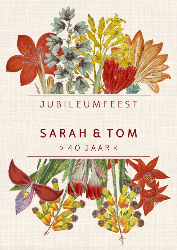 Jubileumkaarten - Jubileumkaart met kleurrijke vintage bloemen