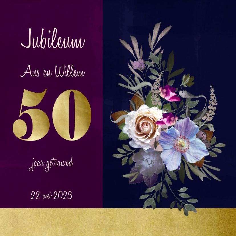 Jubileumkaarten - Jubileumkaart oude meesters paars goud jaartal aanpasbaar