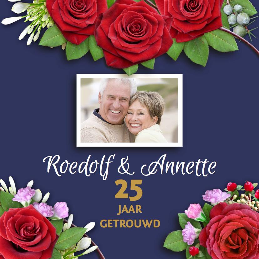 Jubileumkaarten - Jubileumkaart rozen op blauwe achtergrond met foto