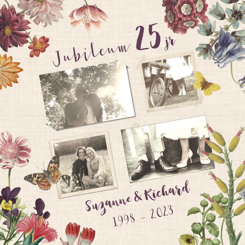 Jubileumkaarten - Jubileumkaart voor huwelijk met vintage bloemen
