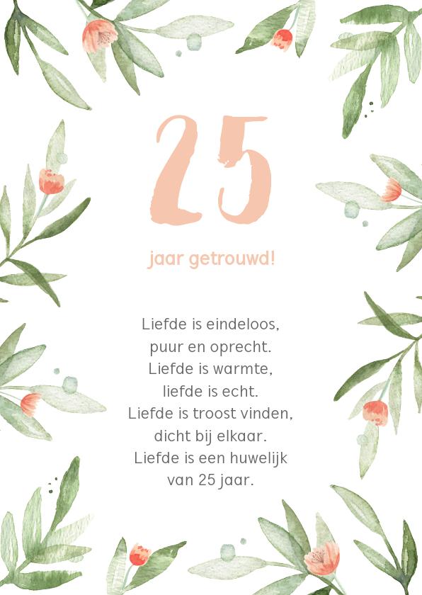Jubileumkaarten - Kaart huwelijksjubileum bladeren