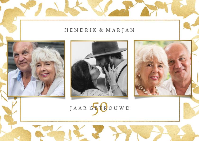 Jubileumkaarten - Moderne uitnodiging jubileum gouden planten kader & foto's