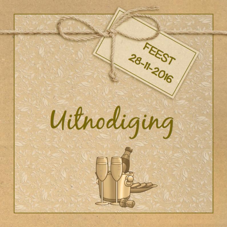 Jubileumkaarten - Mooie uitnodiging met label en drankje op karton-print