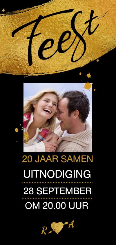 Jubileumkaarten - Mooie uitnodiging voor 20-jarig (aanpasbaar) huwelijksfeest