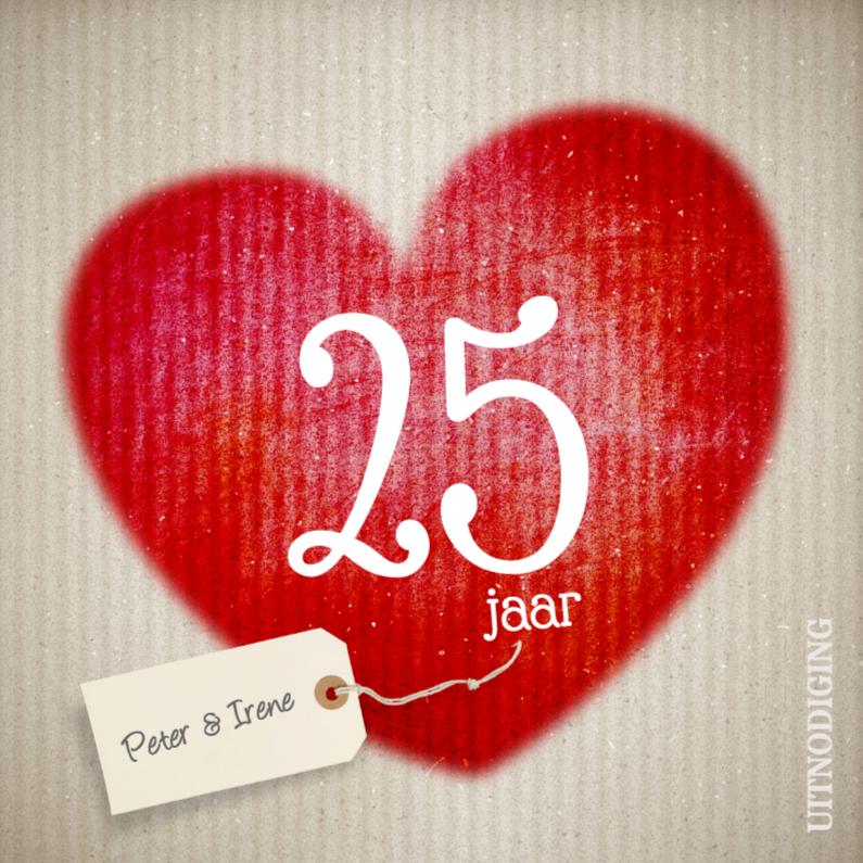 Jubileumkaarten - Rood hart - 25 jarig huwelijk