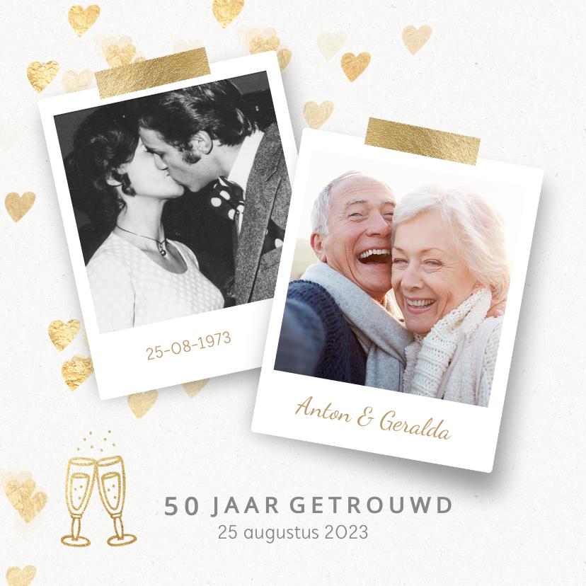 Jubileumkaarten - Stijlvolle huwelijksjubileum uitnodiging hartjes