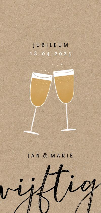 Jubileumkaarten - Stijlvolle jubileum uitnodiging 50 jaar en champagne