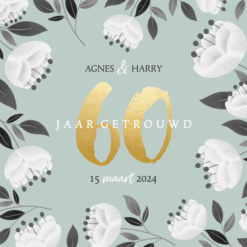Jubileumkaarten - Stijlvolle jubileum uitnodiging witte bloemen en gouden 60