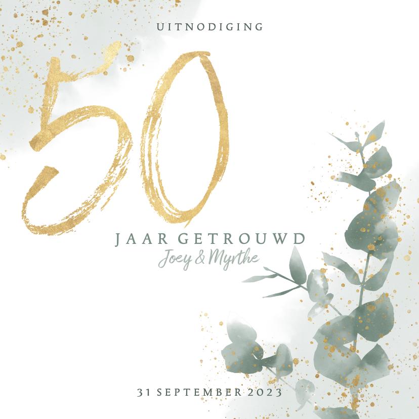 Jubileumkaarten - Stijlvolle jubileumkaart 50 jaar waterverf, spetters & takje