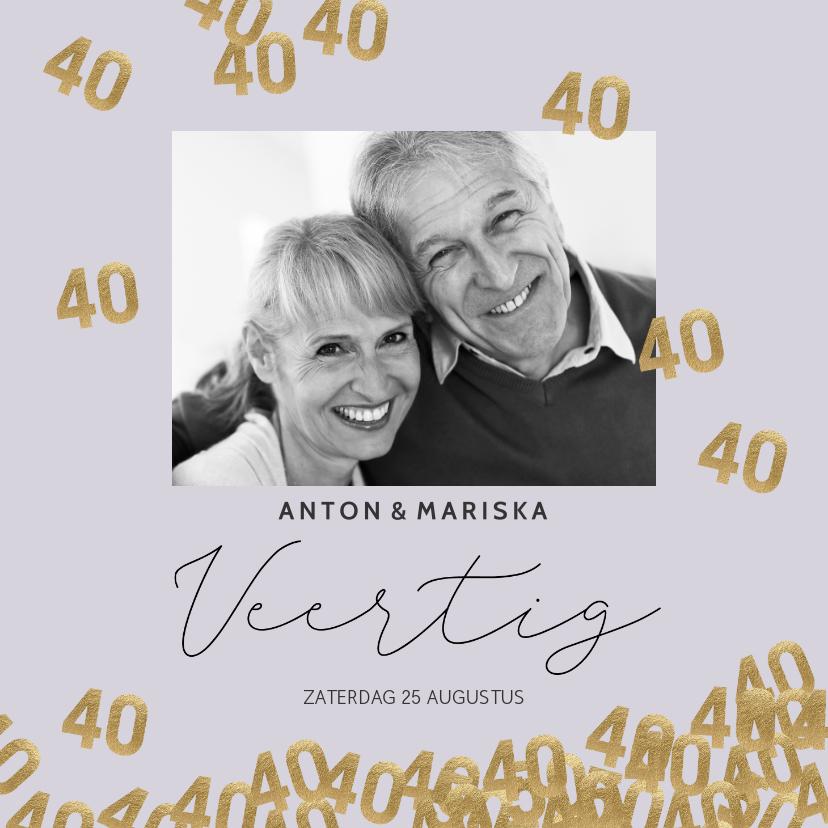 Jubileumkaarten - Stijlvolle uitnodiging huwelijk jubileum 40 jaar confetti