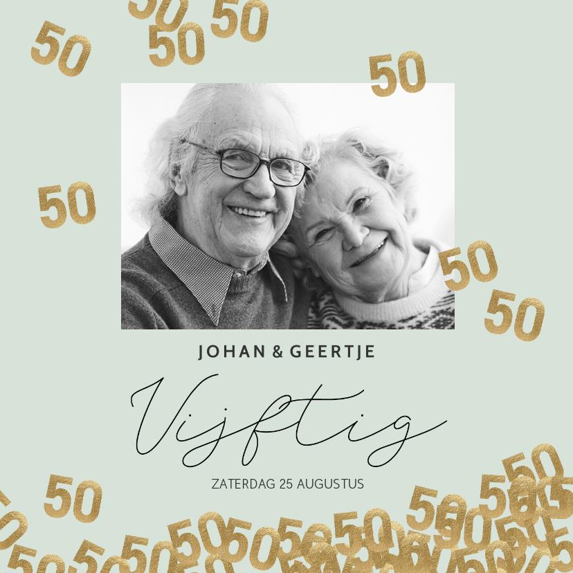 Jubileumkaarten - Stijlvolle uitnodiging huwelijk jubileum confetti 50