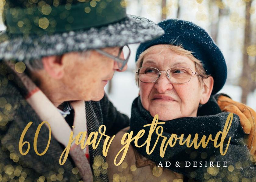 Jubileumkaarten - Stijlvolle uitnodiging huwelijksjubileum 60 jaar met goud