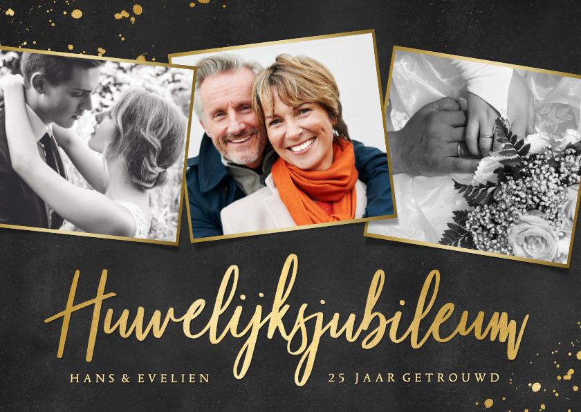 Jubileumkaarten - Stijlvolle uitnodiging huwelijksjubileum met 3 foto's