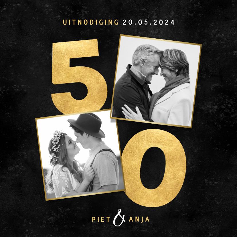 Jubileumkaarten - Stijlvolle uitnodiging jubileum 50 jaar getrouwd met foto's