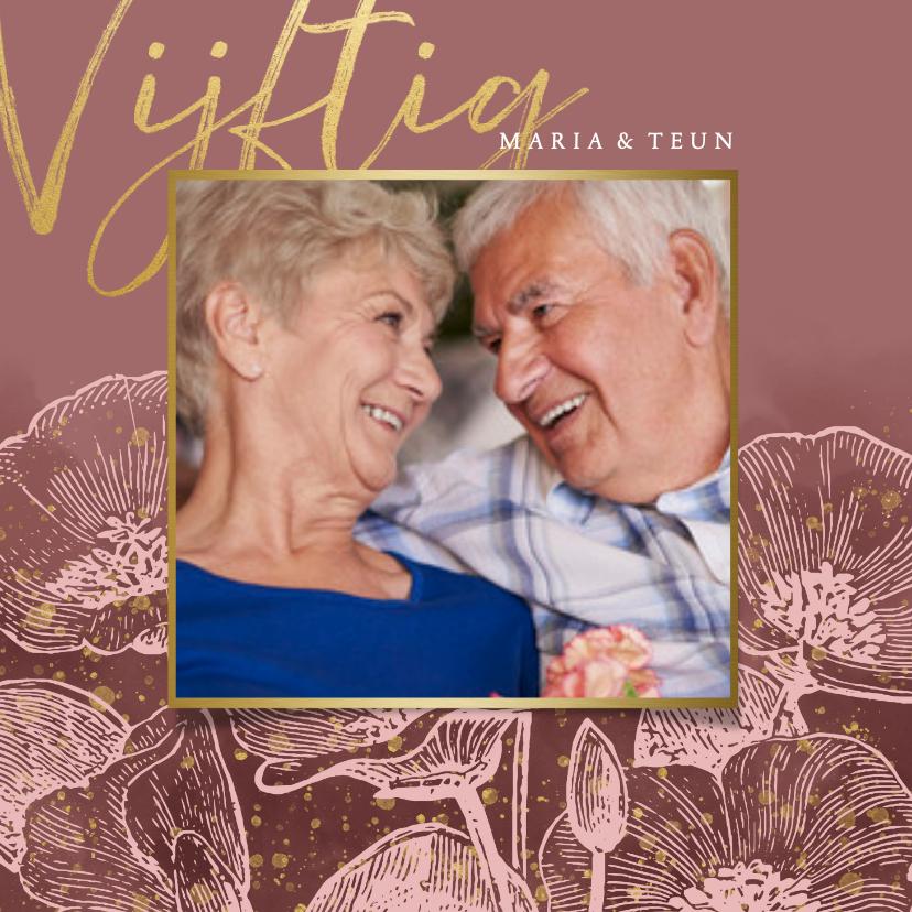 Jubileumkaarten - Stijlvolle uitnodiging jubileum bloemen, foto en typografie