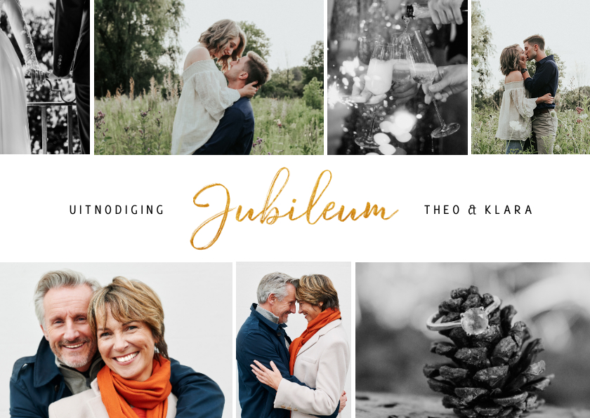 Jubileumkaarten - Stijlvolle uitnodiging jubileum met fotocollage