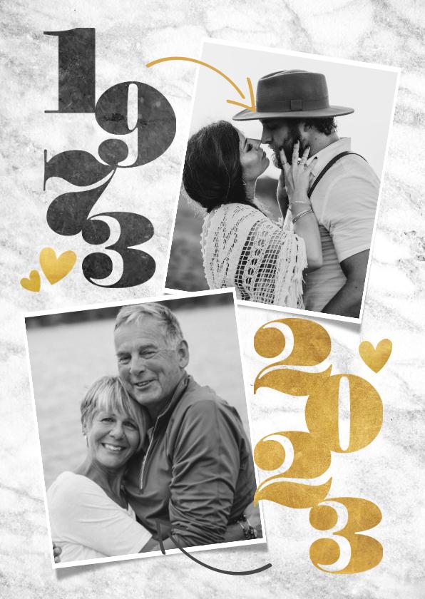 Jubileumkaarten - Stijlvolle uitnodiging jubileum met jaartallen en foto's