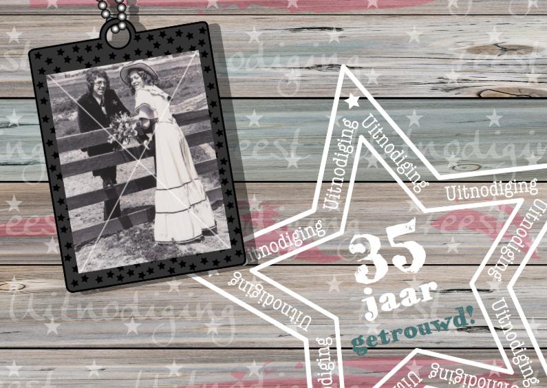 Jubileumkaarten - Stoere foto uitnodiging HOUT ster