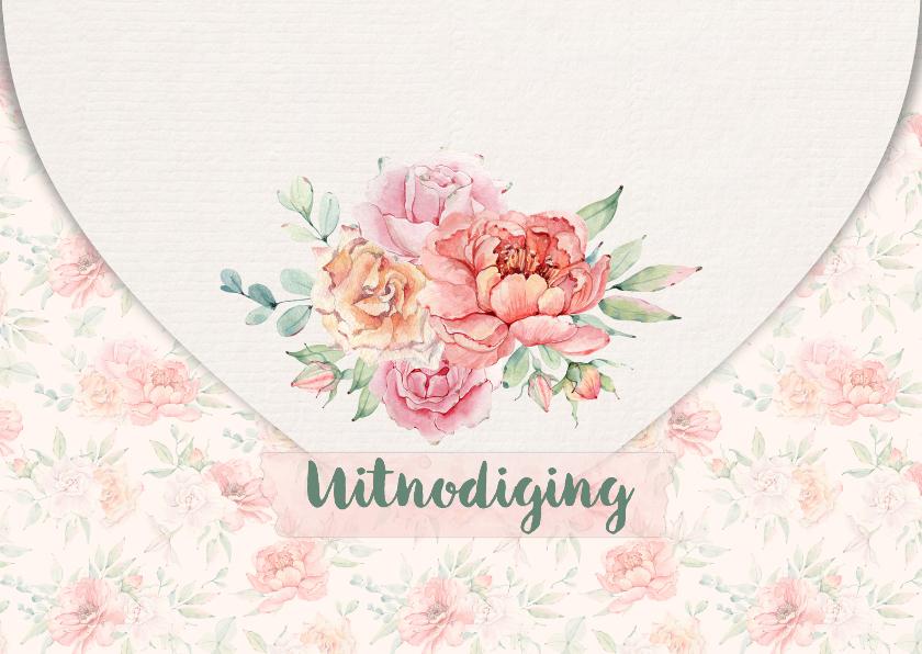 Jubileumkaarten - Trouwkaart brief met rozen
