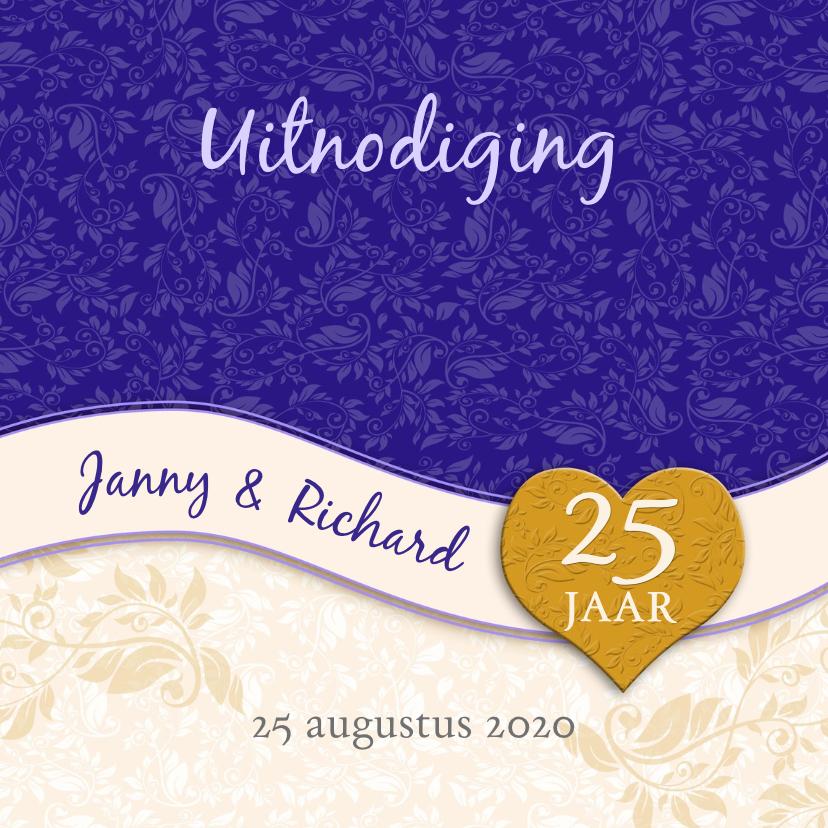 Jubileumkaarten - Uitnodiging band en hart jubileum 25 jaar aanpasbaar