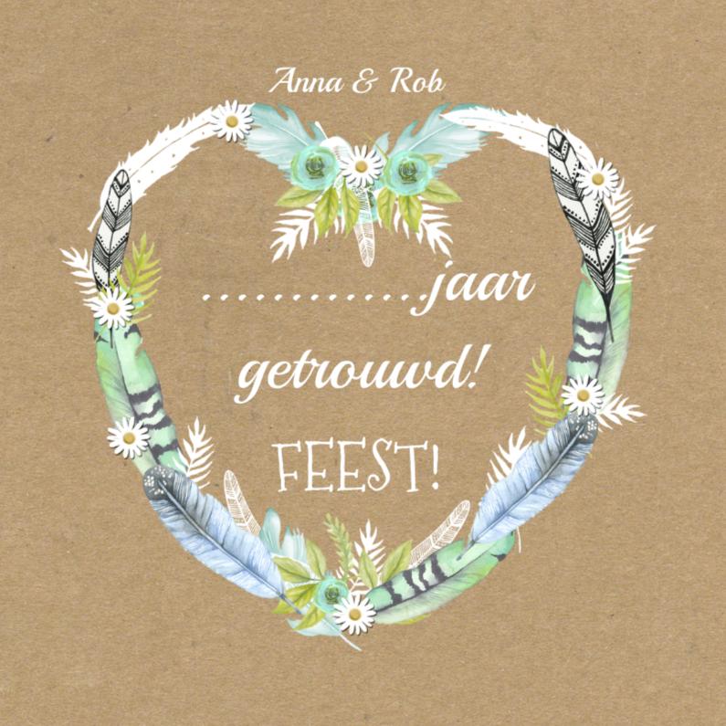 Jubileumkaarten - uitnodiging hart veren getrouwd
