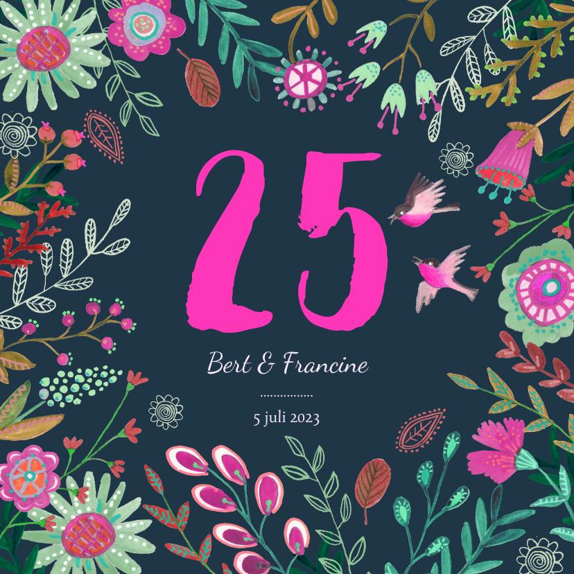 Jubileumkaarten - Uitnodiging Huwelijks jubileum 25 jaar bloemen