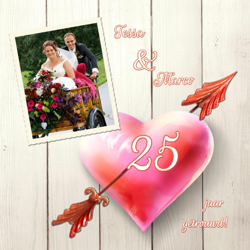 Jubileumkaarten - Uitnodiging huwelijksfeest hart