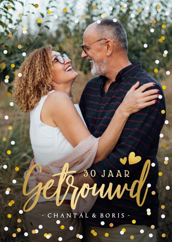 Jubileumkaarten - Uitnodiging huwelijksjubileum met grote foto en confetti