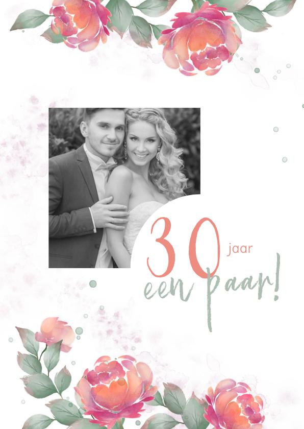 Jubileumkaarten - Uitnodiging huwelijksjubileum rozen waterverf - staand
