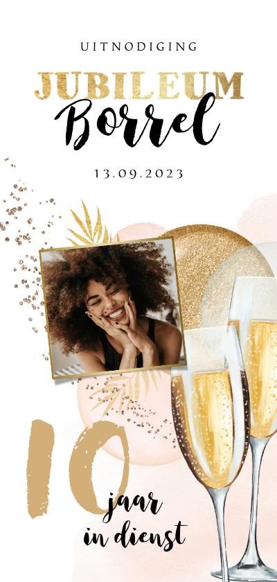 Jubileumkaarten - Uitnodiging jubileum 10 jaar ballonnen goud foto champagne