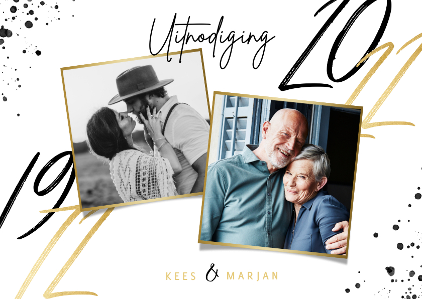 Jubileumkaarten - Uitnodiging jubileum 50 jaar getrouwd foto's en jaartallen