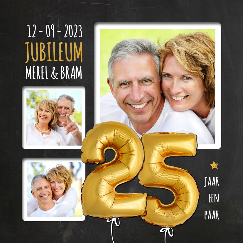 Jubileumkaarten - Uitnodiging jubileum ballonnen goud 25