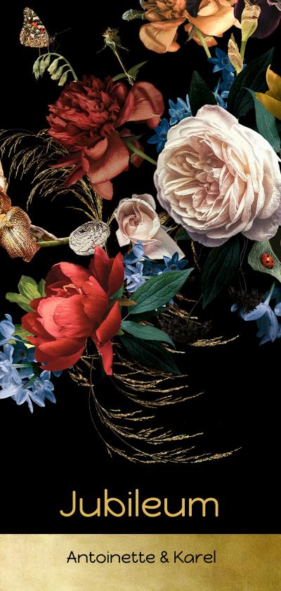 Jubileumkaarten - Uitnodiging jubileum bloemen oude meesters klassiek modern