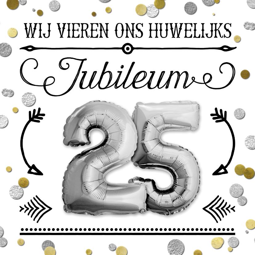Jubileumkaarten - Uitnodiging jubileum confetti ballon 25 zilver