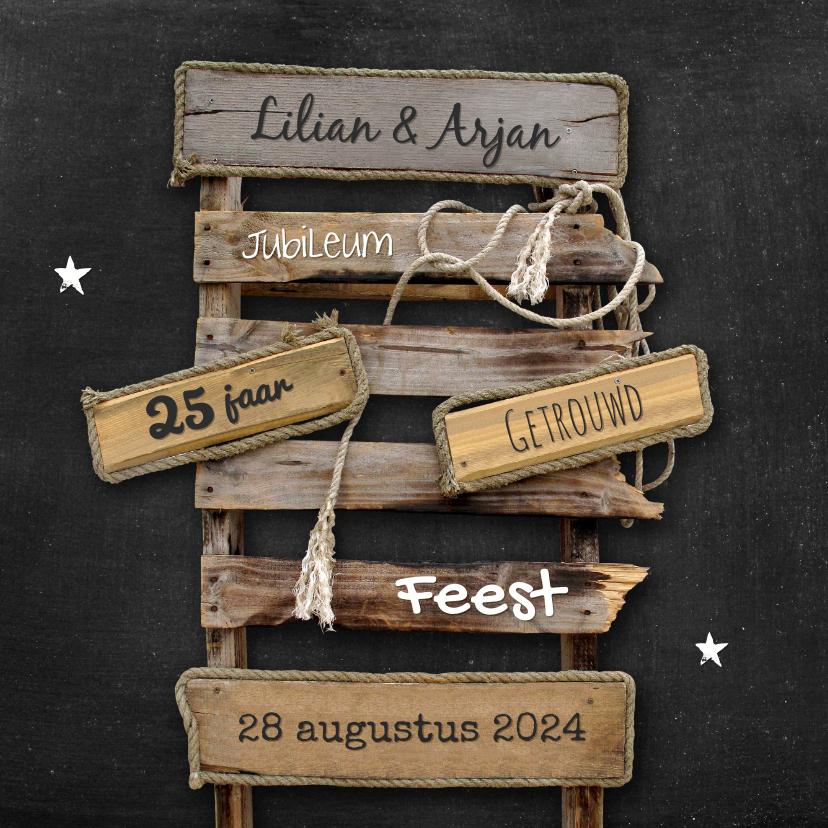 Jubileumkaarten - Uitnodiging jubileum drijfhout pallet op krijtbord
