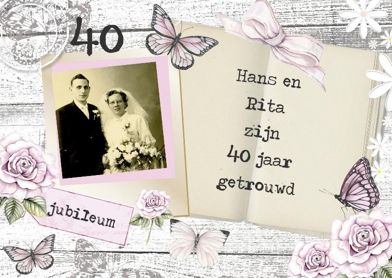 Jubileumkaarten - uitnodiging jubileum hout en vlinders