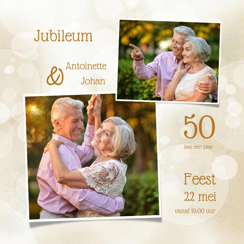 Jubileumkaarten - Uitnodiging jubileum klassiek collage foto's